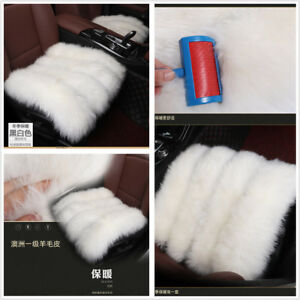 2 Pcs Car Auto Front Seat Covers White Soft Pure Long Wool Warm Winter Cushion