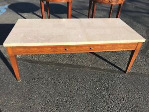 Coffee Table Mosaic Marble Top With Mahogany Inlayed Marquetry French Style
