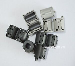 100pcs 7mm Clip on Clip On Rfi Emi Filter Snap Around Ferrite Gray Black