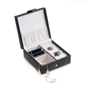 Bey berk Black Quilted Leather Jewelry Box For Rings Earrings With Snap Closure
