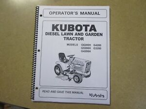 Kubota G3200 G4200 G5200 G6200 Garden Tractor Owners Maintenance Manual