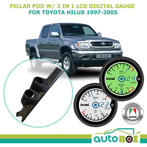 Autotecnica Dual Pillar Pod W 3 In 1 Lcd Gauge Suits Toyota Hilux 1997 2005 4wd