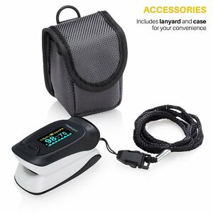 Digital Pulse Oximeter Oxygen Sensor Pulse Rate Health Monitor W Carry Case