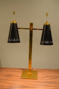 Mid Century Modern Brass Double Cone Desk Lamp