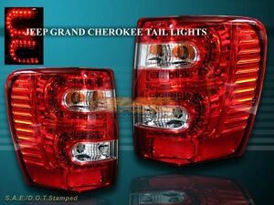 1999 2004 Jeep Grand Cherokee Tail Lights Led Red 99 00 01 02 03 04