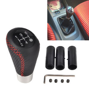 5 Speed Black Red Line Leather Aluminum Manual Car Gear Shift Knob Shifter Lever