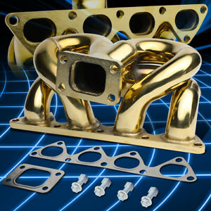 T3 Flanged Gold Ram Horn Exhaust Turbo Manifold For 88 00 D15 d16 Engine Civic