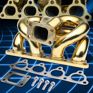 T3 Flanged Gold Ram Horn Exhaust Turbo Manifold For Acura honda B series Engine