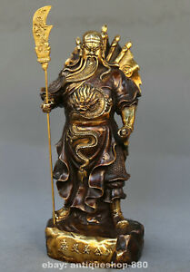 10 6 China Bronze Dragon Warrior God Guangongyu Guanyu Hold Sword Stand Statue