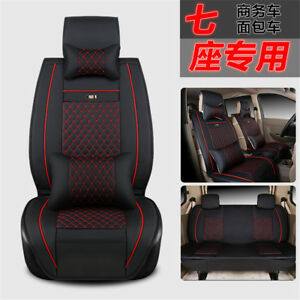 Deluxe Pu Leather 7 Seats Van Mpv Bpv Car Seat Cover Cushion W Pillows Size L