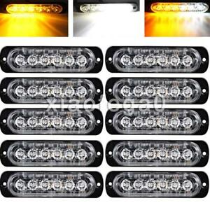 10pcs Amber white 6 Led Emergency Hazard Warning Flash Strobe Beacon Caution Usa