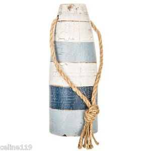Blue And White Buoys Rustic Vintage Style Set Of 2 Wooden Nautical Decor L S