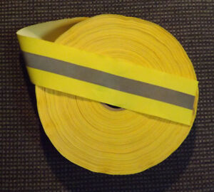 Huge Roll 80 Yards 2 Reflective Safety Tape Sew on Flourescent Yellow lime Nos