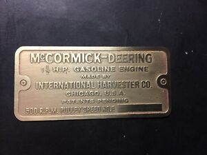 New Mccormick Deering L Etched Brass Tag Antique Gas Engine Hit Miss