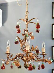 Vintage Italian Chandelier With Murano Glass Fruits Decorative Gilded Frame