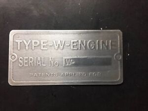 New John Deere W Engine Tractor Etched Aluminum Tag Antique Gas Hit Miss
