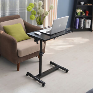 Adjustable Portable Computer Desk W Wheels Stand Bed Side Lazy Laptop Black