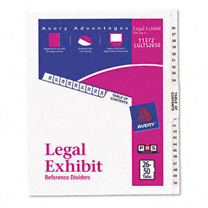 Lot Of 3 New Avery Legal Exhibit Side Dividers 26 50 Tabs 11372 Lglts2650