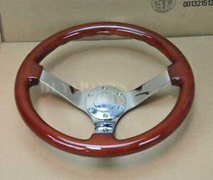 14 Dia 3 Deep Dish Classic Wood Mirror Chrome S s Spoke Steering Wheel Horn