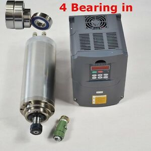 4kw Four Bearings Water cooled Spindle Motor And 4kw Drive Inverter Vfd Cnc