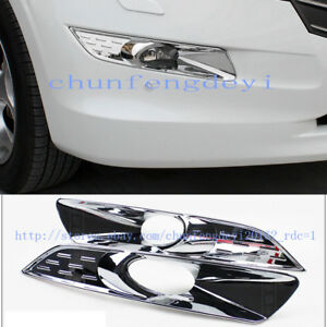 For Honda Crosstour 2011 2013 Abs Chromed Front Fog Lamp Cover Trim 2pcs set