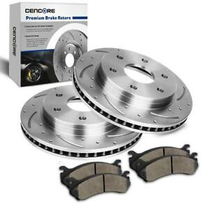 For 99 06 Gmc Sierra 1500 2 Front Drill 11 99 Brake Disc Rotor 4 Ceramic Pads