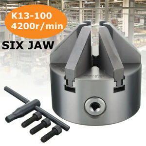 6 Jaw 112mm Lathe Metal Chuck Rotary Self Centering Hardened Plain Back K13 ii