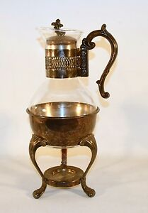 Vintage Silverplated F B Roger Coffee Tea Carafe Warmer 2