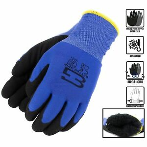 Safety Winter Insulated Double Lining Rubber Coated Work Gloves bgwans blue