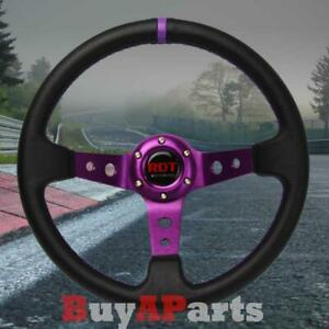 Universal Black purple 350mm Drifting Pvc Leather 6bolt Deep Dish Steering Wheel