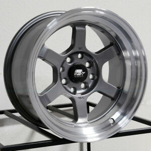 15x8 Mst Time Attack 4x100 4x114 3 0 Gunmetal Wheels New Set 4