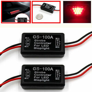 Gs 100a Led Brake Stop Light Strobe Flash Module Controller Box For Car Vehicle