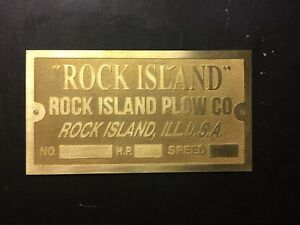 New Rock Island Plow Company Etched Brass Tag Antique Gas Engine Hit Miss