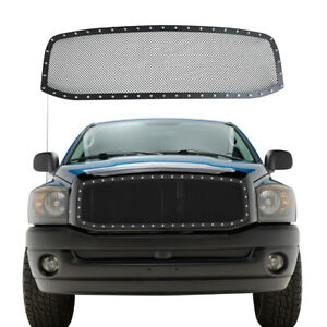 For 2006 2008 Dodge Ram 1500 2500 3500 Black Rivet Style Wire Mesh Grille