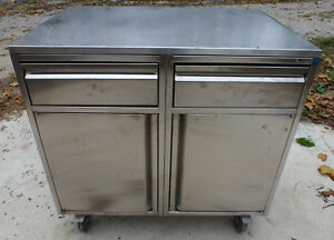 Royston Stainless Steel 2 Door 2 Drawer Mobile Cabinet Storage Prep Table