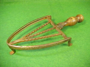 Early 19th Century Antique Fancy Hand Wrought Iron Trivet With Treen Ware Handle