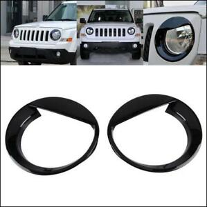 Fit 2011 17 Jeep Patriot Angry Bird Style Front Headlight Lamp Cover Decor Black