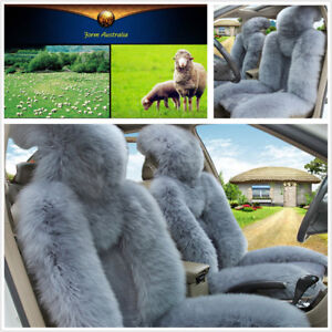 2 Pcs Car Front Seat Cover Set Soft Genuine Australian Sheepskin Fur Warm Winter