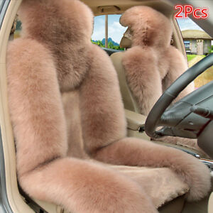 2pcs Genuine Australian Sheepskin Fur Car Front Seat Cover Long Wool Winter Warm