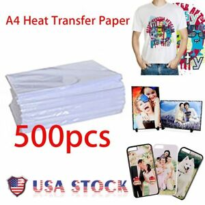 500 Sheet t shirt Inkjet Iron on Heat Transfer Paper For Light Fabric a4 Se