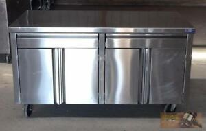 60 X 30 Stainless Steel 4 Door 2 Drawer Mobile Cabinet Storage Counter Top