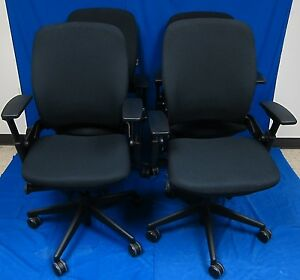 Lot Of 8 Executive Chair By Steelcase Leap V2 46216179 Fully Loaded Black Fabric