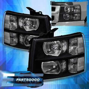 For 07 14 Chevy Silverado Direct Replacement Driving Head Lights Lamps Black