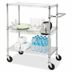 3 tier Rolling Cart Stainless Steel Mobile Silver Storage Shelving Display Unit