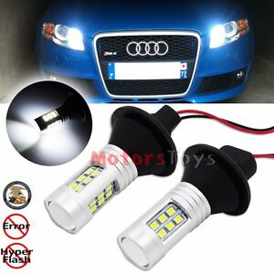 Error Free Can bus White 1156 7506 Audi Daytime Drl Led Bulbs Lights W Resistor