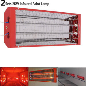 2kw Spray Baking Booth Infrared Paint Curing Lamps Heaters Heating Lights 2sets