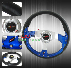 Universal 6 Bolt 320mm Racing Steering Wheel Pvc Leather W Blue Inner Frame Jdm