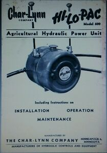 Char lynn Pto Hydraulic Pump Hi lo pac Tractor Owner Parts Service Manual 24p
