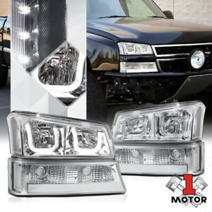 Chrome Dual 3d U halo Headlight Led Drl Clear Signal For 03 06 Chevy Silverado