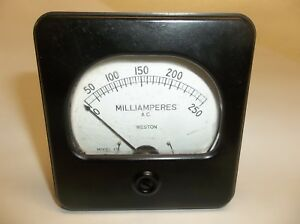 Vintage Weston Ac Milliamperes Meter 0 250 3 X 3 1 8 Model 476
